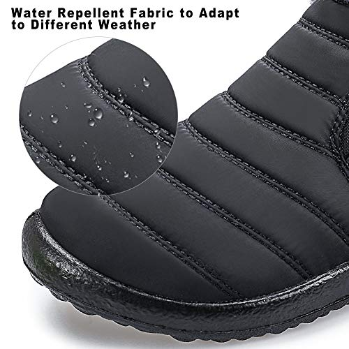 Womens Winter Snow Boots Fur Lined Warm Ankle Boots Slip On Waterproof Outdoor Booties Comfortable Shoes for Women Black