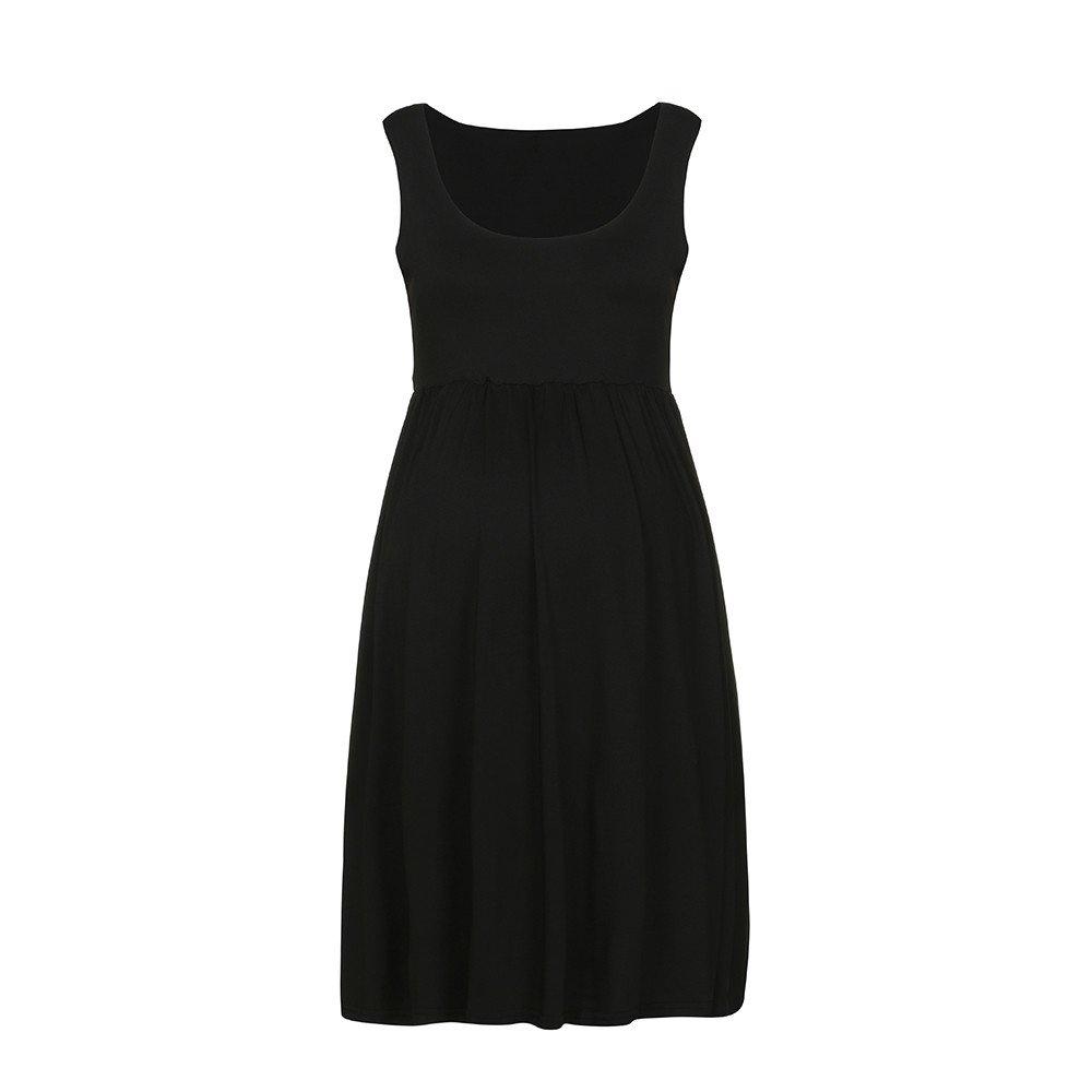 Allence Damen Tank Umstands-Kleid Stillen Skaterkleid Umstandsmode Kleid Schwangerschafts Sommerkleid 2in1 Stillkleid Minikleid /Ärmellos Kleid