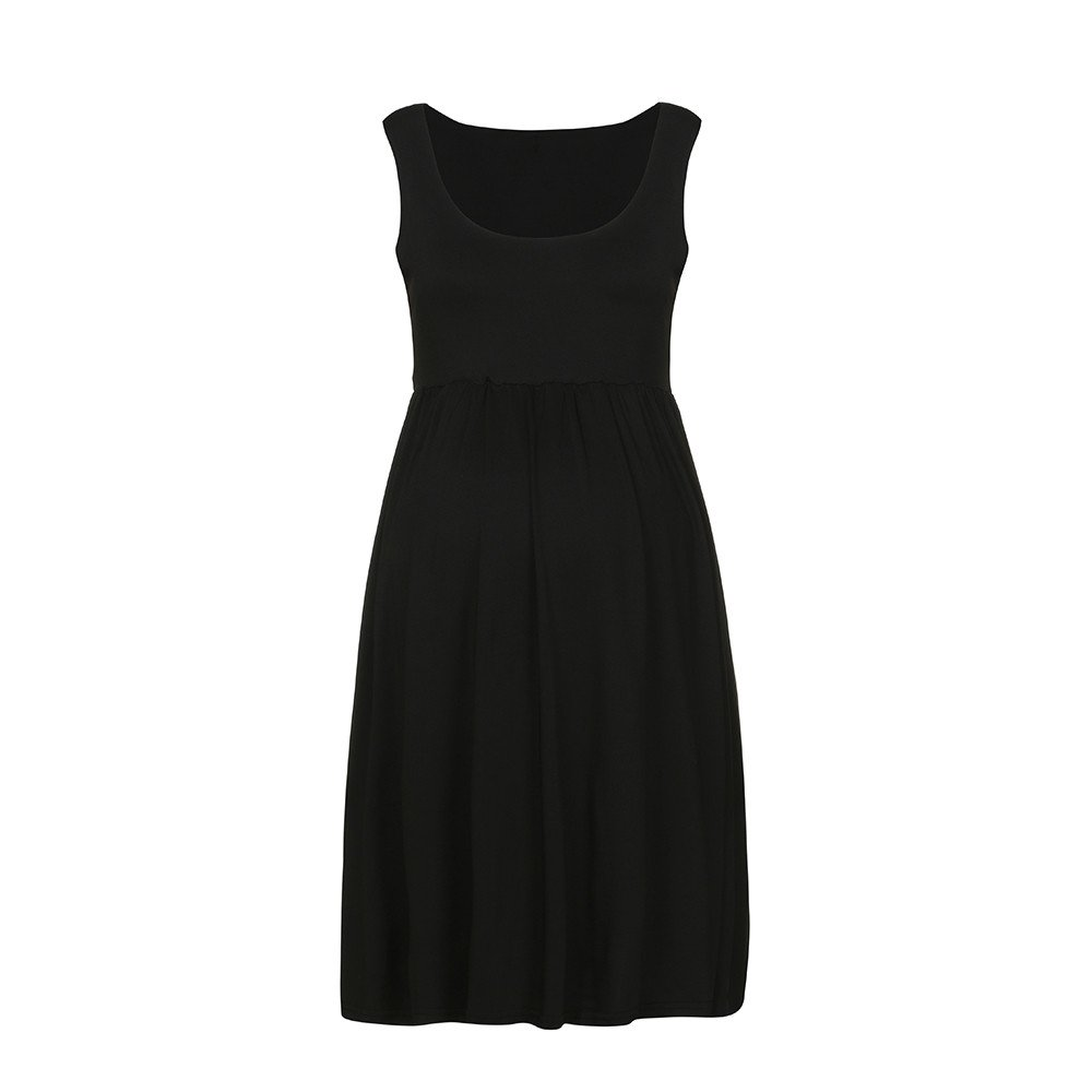 Women Dress, Fashion Womens Pregnants O-Neck Sleeveless Maternity Solid Vest Dress Black