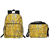 """iPrint 19"""" School Backpack & Lunch Bag Bundle,Yellow and Blue,Looking Skyward Amongst The Patch of Sun lit Aspen Trees in Autumn Life Print,Yellow,for Boys Girls"""