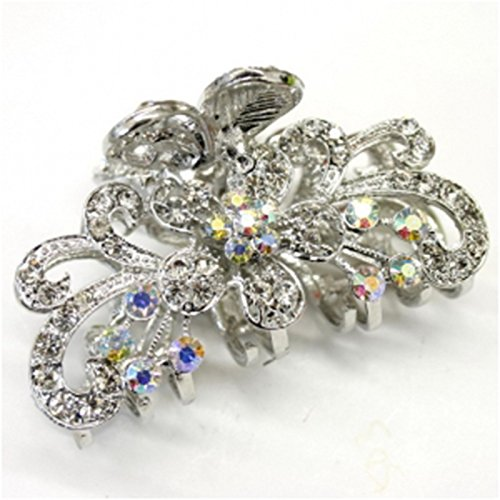 - White Crystal Bronze Metal Alloy flower / butterfly hair claws clips