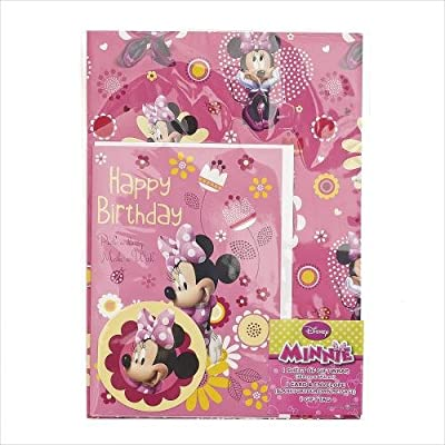 Disney Minnie Mouse Wrapping Paper with Birthday Card and Gift Tag