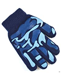 Octave Boys Camoflague Design Magic Gripper Gloves - Navy