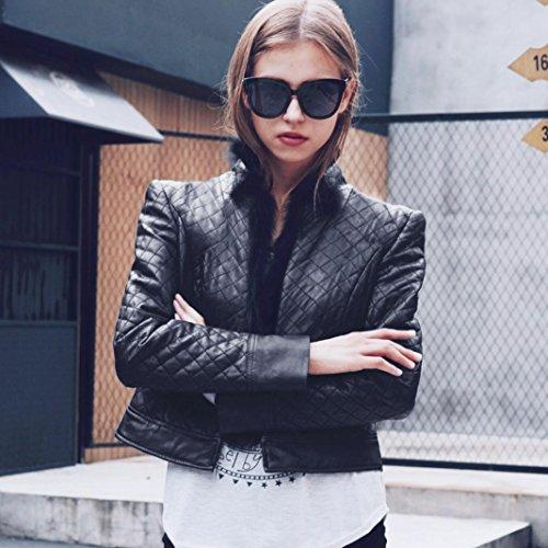 Womens Faux Leather Jacket, Hunputa Fashion Womens Racing Moto Biker Check Soft Pu Leather Jacket Coat with Fur Stand Collar (US - Moto Check