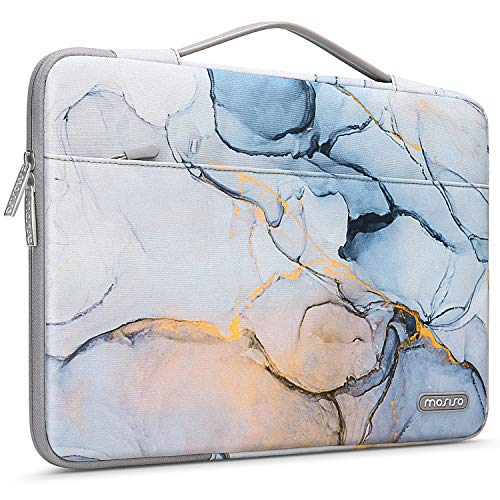 MOSISO Laptop Sleeve 360 Protective Case Bag Compatible with 13-13.3 inch MacBook Pro, MacBook Air, Notebook Chromebook Computer, Polyester Shockproof Briefcase with Trolley Belt Marble MO-MBH190