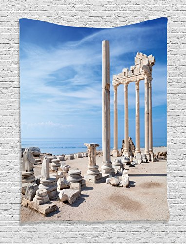 Ambesonne Home Decor Collection, Ancient Greek Temple with - Greek Themed Party