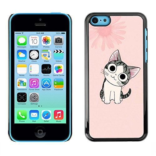 Soft Silicone Rubber Case Hard Cover Protective Accessory Compatible with Apple iPhone 5C - Cute Japanese Pink Cat