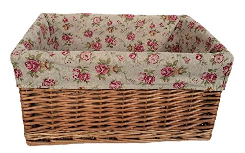 Large Double Steamed Garden Rose Willow Storage Baskets by Red Hamper