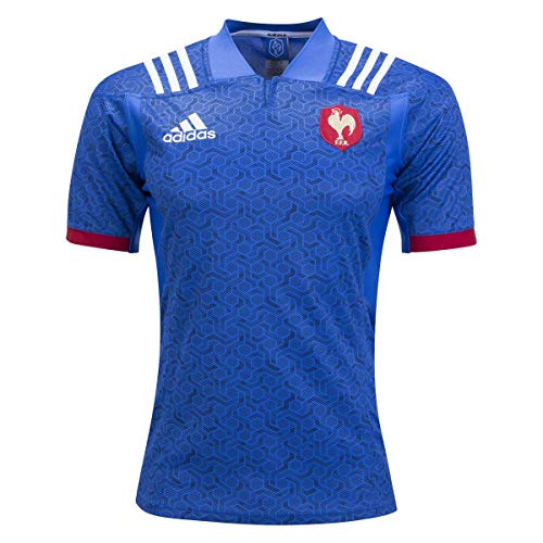 (adidas France Replica Home Short Sleeve Rugby Shirt - Blue - Small )