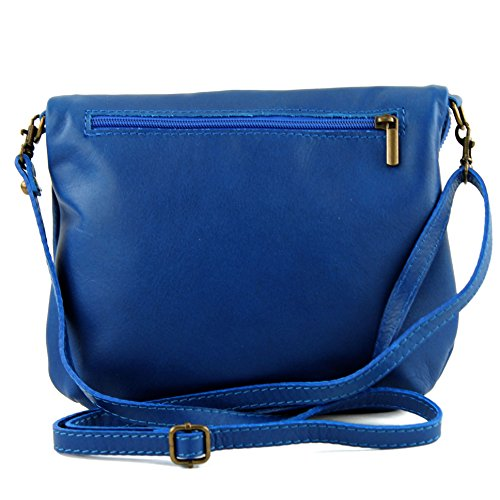 Fille Made Ital D'embrayage In En Cuir T139 Sac Modamoda À De Petit Blue Bandoulière Italy A7nY1w