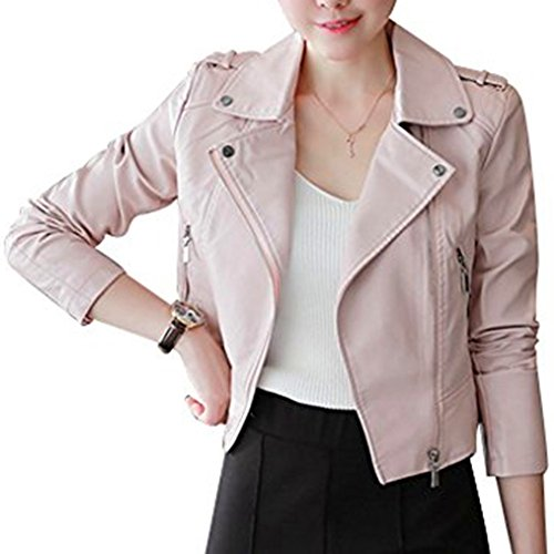 Harmily Women Turn Down Collar PU Leather Coat Slim Long Sleeve Zipper Jacket - Embroidered Suede Leather Coat