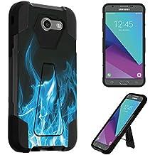 For Galaxy J3 Emerge / J3 Prime / J3 Luna Pro / J3 Mission / J3 Eclipse / J3 2017 / Amp Prime 2 / Express Prime 2 / Sol 2 Case, DuroCase Kickstand Bumper Case - (Blue Flames)