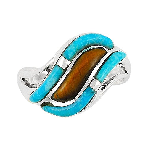 Tigers Wests (Southwest Design Turquoise Ring in Sterling Silver & Tiger Eye Size 5 to 12 Designer Jewelry (9))