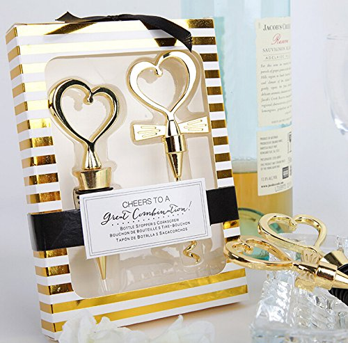 Love and Hearts 2 Pieces ''Cheers to a Great Combination'' Wine Corkscrew and Stopper (40, Gold)