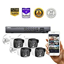 4 CH HD 【3MP】 Security Camera System Remote iPhone Android APP HDMI Night Vision MATRIX IR 【1TB Purple Drive INCLUDED】