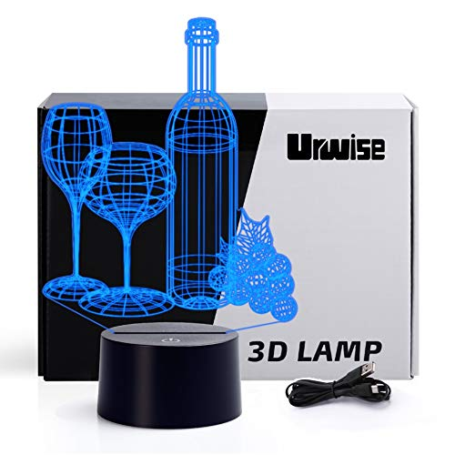 Wine glass 2D optical illusion night lights, Wines bottles seven color variations, Red-wine glass smart touch button USB and battery power, amazing creative art design for childrens Christmas gifts