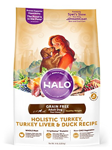 Halo Grain Free Natural Dry Dog Food, Healthy Weight Turkey, Turkey Liver & Duck Recipe, 14-Pound Bag (Halo Dog Food Grain Free)