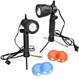(US) Emart Photography Continuous 12 LED Lamp Table Top Light Studio Portable Lighting Kit with Color Gel Filters - 2 Pack