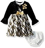 Nannette Baby Girls' Sleeveless Dress With Shrug, Black, 3-6m
