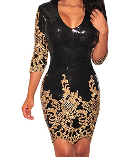 BYY Black Victorian Gold Sequins 3/4 Sleeves Bodycon Dress(Size,L) (Shoes From The Movie Burlesque)