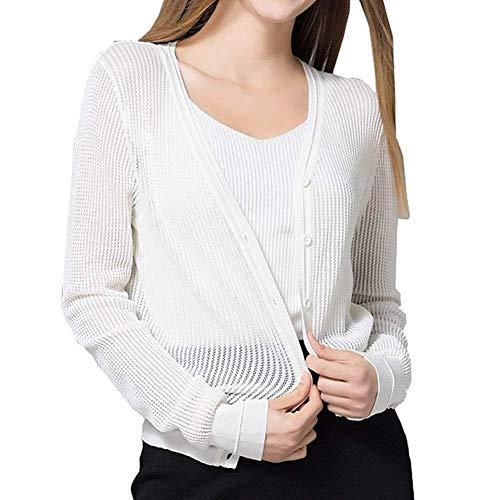 Printemps jeune manteau col Pullover court longues confortable manches mode respirant blanc survêtement bouton v veste monochrome rnaTxrqw7
