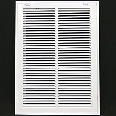 "14"" X 20 Steel Return Air Filter Grille for 1"" Filter - Removable Face/Door - HVAC DUCT COVER - Flat Stamped Face - [Outer Dimensions: 16.5""w X 22.5""h]"