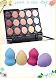 Kakaxi(TM) Professional 15 Concealer Camouflage Makeup Palette with Professional Makeup Sponge Flawless Smooth Shaped Puff(Random Color)