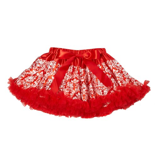 Red Girls Damask Pettiskirt, Size 3/4 (Candy Cane Dance Costume)