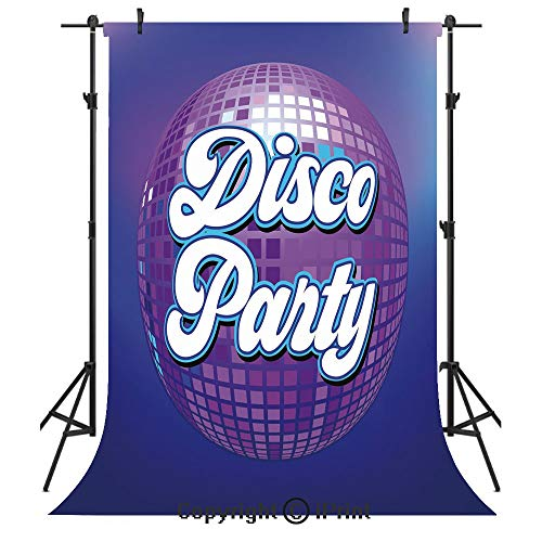 - 70s Party Decorations Photography Backdrops,Retro Lettering on Disco Ball Night Club Theme Dance and Music Decorative,Birthday Party Seamless Photo Studio Booth Background Banner 5x7ft,Purple Blue Whi