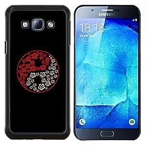EJOOY---Cubierta de la caja de protección para la piel dura ** Samsung Galaxy A8 A8000 ** --Yin Yang Blanco Rojo Negro Flores Arte