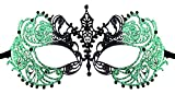 Luxury Mask Women's Laser Cut Metal Venetian Pretty Masquerade Mask, Black/Black Stones Green Glitter, One Size