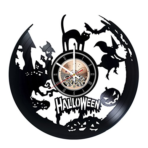 Halloween Vinyl Record Wall Clock - Home Room Wall Decor - Gift Ideas for Kids, Teens – Scary Unique Art -