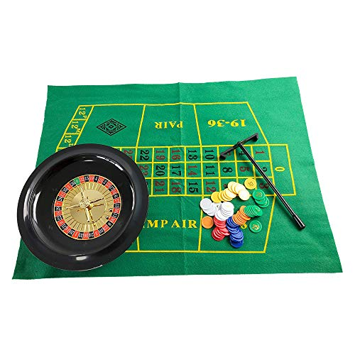 (YH Poker 10-Inch Roulette Wheel Game Set with 1 Roulette Wheel,60 Chips, 2 Roulette Balls, Mini Roulette Felt(14x30 in), 1 Roulette Rake)