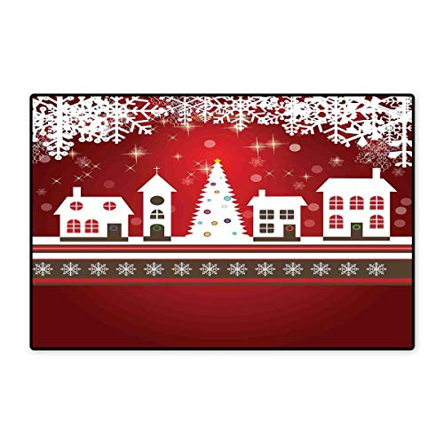 Christmas Door Mat Small Rug Winter Holidays Theme Gingerbread House with Trees and Snowflakes Artwork Print Bath Mat for Bathroom Mat 16