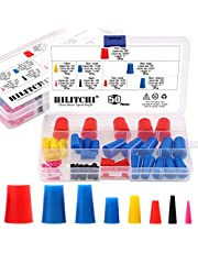 """Hilitchi 50 Pcs 1/16"""" to 5/8"""" Silicone Rubber Plug Kit Tapered Stopper Plugs Masking Tool for Powder Coating Painting Anodizing Plating with Storage Box"""