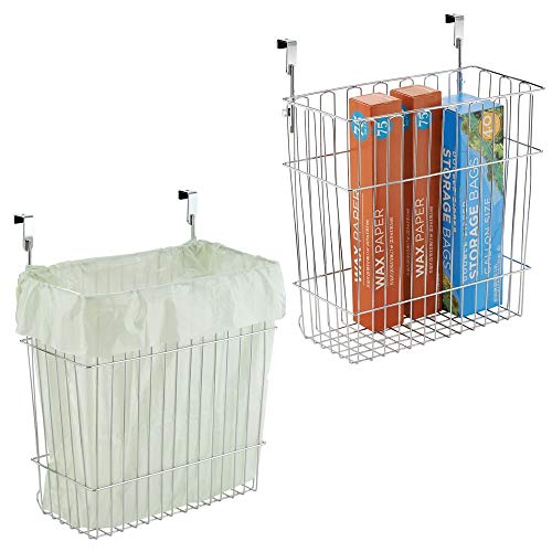 mDesign Metal Wire Hanging Over Door Kitchen Storage Organizer Basket/Trash Can - Hangs Over Cabinet Doors - for Bags, Tin Foil, Wax Paper, Saran Wrap - Solid Steel - 2 Pack - Chrome