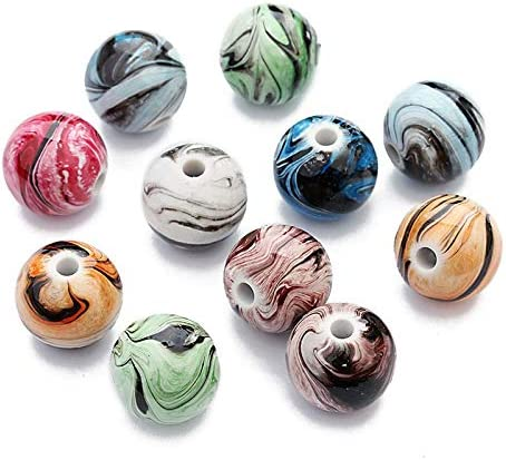 DaoRier 100pcs colorato colorato colorato Sfere di Resina Perle di Vetro Artigianato Fai da Te Accessori Bracciale con Scatola di plastica