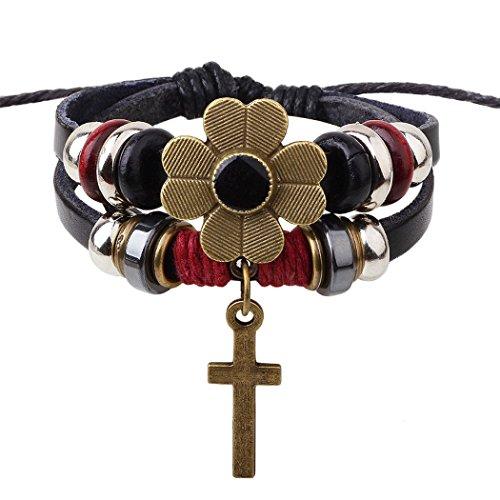 Desklets Boys / Girls Fashionable Vintage Braided Rope Beaded Elegant Alloy Charm Bracelets(Cross1) (Jack Titanic Costume)