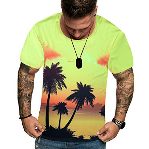 Men 3D Printed T Shirt Summer New Full Plus Size Cool Hawaiian Printing Top M-3XL Yellow