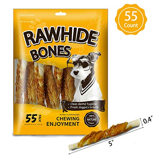 MODONE Nature Rawhide Bones, Puppy Treats for Small or Toy Dog