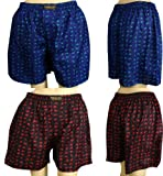 2 x Unisex's Thai Silk Boxer Shorts- with Small Elephants Design Size 30-33''