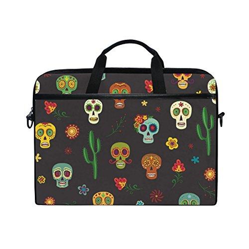 15-Inch Laptop Bag Mexican Sugar Skull Cacti Flower Canvas Shoulder Messenger Sleeve Case Tablet Briefcase