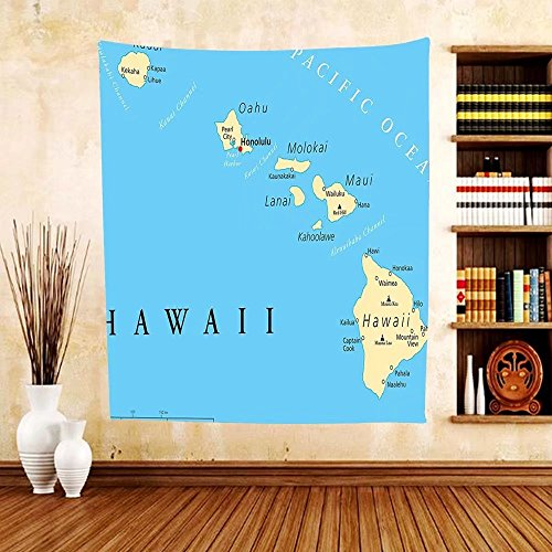 Gzhihine Custom tapestry Hawaiian Decorations Collection Map Of Hawaii Islands With Capital Honolulu Borders Important Cities And Volcanoes Bedroom Living Room Dorm - California Honolulu Of Shades