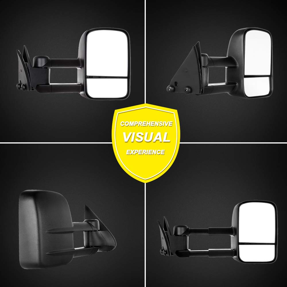 OCPTY Pair Set Towing Mirrors Manual Telescoping Side View Tow Mirror for 88-98 Chevy GMC CK 1500 2500 3500 LH+RH