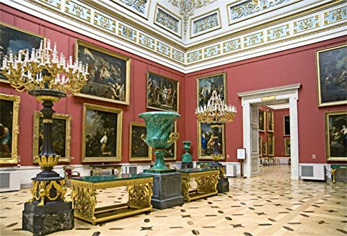 Laeacco 7x5ft Luxurious European Museum Gallery Interior Vinyl Photography Background Precious Famous Paintings Vessels Backdrop Historical Architecture Cultural Relics Studio - Interiors Gallery
