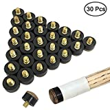YuCool 30 Pieces Screw-on Cue Tips Hard Leather Billiard Pool Cue Stick Replacements-13mm