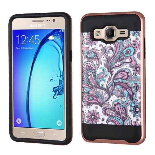 Asmyna Cell Phone Case for Samsung On5 - Purple European Flowers(Rose Gold)/Black Brushed