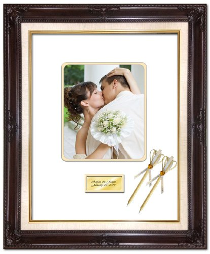 20 x 24 Personalized Wedding Picture Frame with 2 Handmade Ribbon Pens - Elite Dark Mahogany Linen Floral Wood Photo Frame - optional use as Guest Book Signature Autograph Frame with Round Corner 8W x 10H Portrait Photo - Top matted White Inner mat Gold - by FA Signature Picture Frame Company