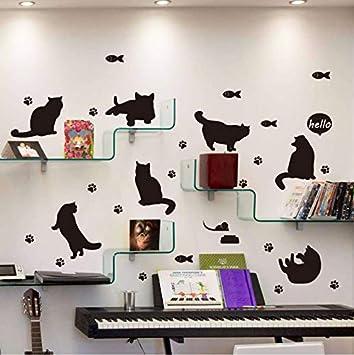 Knncch Gato Negro Silueta Etiqueta De La Pared Estantería Escalera Corredor Entrada Pegatinas De Pared Para Niños Habitaciones Decoración Mural: Amazon.es: Bricolaje y herramientas
