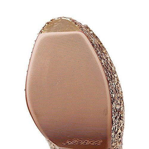 Peep Solid Spikes Gold On Pull Toe Stilettos Sandals AllhqFashion Women's 4YTq1xxB